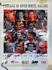 Andretti + Fittipaldi + Unser + Roger Ward + signed RARE racing poster Indy PRF