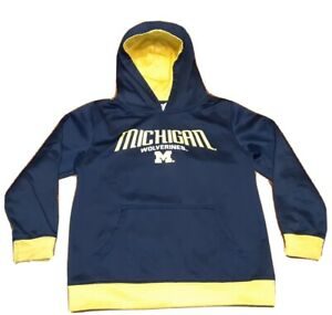 University Of Michigan Sweatershirt Youth Wolverines Maize Blue Hoodie Y M 8/10