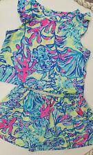 Lilly Pulitzer Girls Opal Set Top and Skirt  Lemon Drop Swim Up M 6 7  30020B