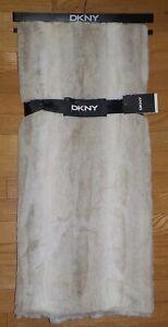 DKNY Faux Fur Throw Blanket Double Sided Fur Super Soft Tan Blend NWT
