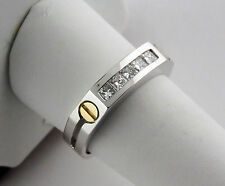 1/2 Carat Men's Diamond Wedding Ring Princess Cut 14K Whit Gold
