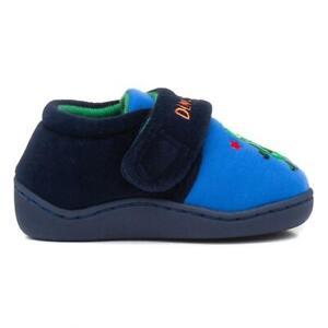 Kids Navy Blue Easy Fasten Dinosaur Slippers with Flat Hard Sole