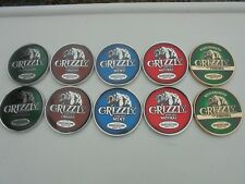 10-GRIZZLY SNUFF CAN LIDS NO WARNING LABEL-FACTORY NEW/UNUSED SALESMAN SAMPLES