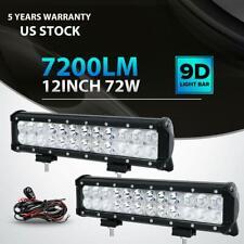 Pair 12inch 72W LED Light Bar Work SPOT FLOOD Combo 4WD CAR ATV+ Wiring Kit