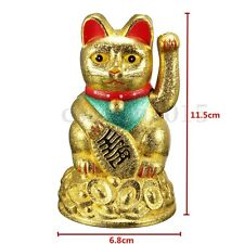 "Chinese Wealth Lucky Hand Waving Gold Cat Moving Arm 4.5"" Maneki Neko Feng Shui"