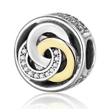 Gold Silver CZ Hollow Round Spacer Bead Fit European Charm Bracelet