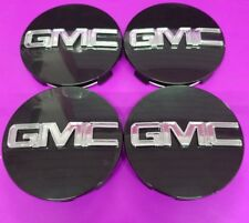 "GMC Black CENTER CAP Yukon Denali Sierra 3.25"" 83mm 18 20 22 Wheel 9595759 4pc"
