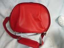 VINTAGE LOOK.  Red vinyl travel toiletry case, lots of compartments. Pre-owned