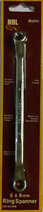 NBL RING SPANNER 6MM X 8 MM (2 pk ) ,CHROME VANADIUM STEEL ,HEAT TREATED