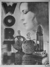 PUBLICITÉ 1931 WORTH PARFUMS SANS LA NUIT SANS ADIEU VERS LE JOUR COUTURE PARFUM