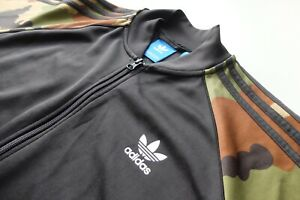 Adidas Originals camouflage sleeves tracksuit Jacket Black Green L bomber Camo