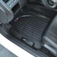 3PC Set FlexTough Rubber Auto Floor Mats Black Heavy Duty Deep Channels for Car