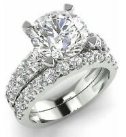 2Ct Round Brilliant Cut Diamond Bridal Set Engagement Ring 14K White Gold Finish
