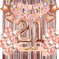 40pcs Rose Gold Happy Birthday Bunting Banner Balloons 21st Birthday Party Gifts