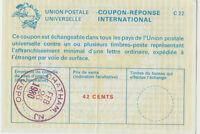 Stamp USA 1980 International Reply Coupon 42 cents CHATHAM NJ USPO postmark