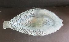 "Fused Glass FISH BOWL PLATTER 8""x 14"" Signed Edwin D. WALTER MCM USA"