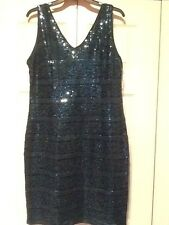 Teal Sequined Chiffon Overlay Sleeveless Dress Missy Sz 14  SD Collection NWT