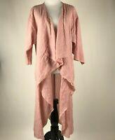 LuLaRoe Women Peach Pink Striped 3/4 Sleeve Duster Cardigan sz M