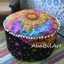 "24"" New Indian Astrology Multicolored Large Pouf Cover Ottoman Foot Stool Covers"