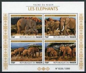 Niger Wild Animals Stamps 2015 MNH Elephants African Bush Elephant Fauna 4v M/S
