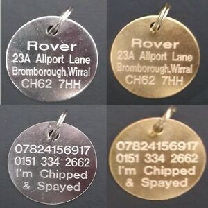 Engraved Pet Tags DOG CAT ID Disc Disk FREE Post & Deep Engraving Standard Round