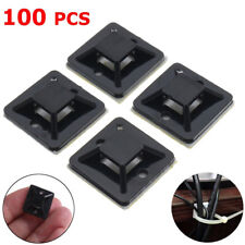 100pcs Self Adhesive Cable Zip Tie Wire Mount Base Clamps  Holder 20x20mm Black