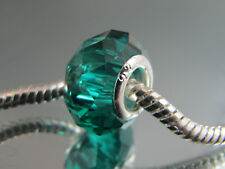 925 SILVER STAMPED TEAL CRYSTAL FACETED BEAD EURO STYLE CHARM BRACELETS #DC 290