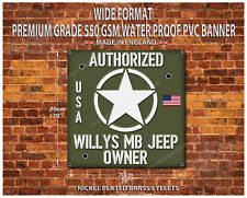 "Willys MB Jeep proprietario IMPERMEABILE grado 550GSM PVC Banner Garage 28"" x 28"""