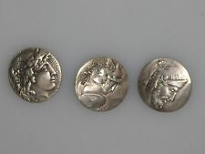 STERLING SILVER LEVI & SALAMAN  ANTIQUE ROMAN EMPERORS ? ENGLISH 3 SMALL BUTTONS