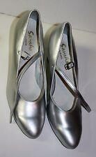 Sansha Astoria Silver Leather Mary Jane Dance Shoes Heels Pumps Size 11-13M