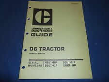 CAT CATERPILLAR D6 CRAWLER TRACTOR DOZER LUBRICATION & MAINTENANCE MANUAL