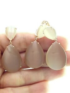 925 Silver Jewelry Set Rose Gold Plated Earrings Milky Brown Fine Designer D623