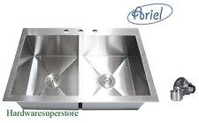 "33"" Stainless Steel Double Bowl Topmount Drop In Kitchen Sink Zero Radius Ariel"