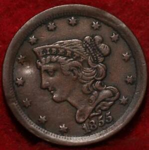 1855 Philadelphia Mint Copper Braided Hair Half Cent