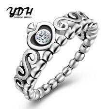 Princess Queen Crown 925 Silver Ring White Topaz Wedding Engagement Women Men