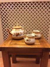 Gibsons Orange Lustre With Floral And Gold Detail Tea Set