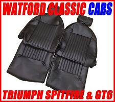 Triumph Spitfire / GT6 Seat Covers 1 pair Black Vinyl with headrest covers