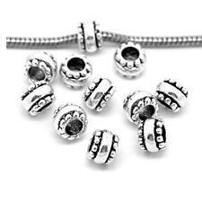 10 Pcs Silver Tone European Spacer Beads for Snake Chain Charm Bracelet