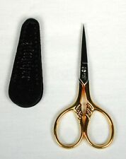 "*NEW* Gingher Golden Lion's Tail 3.5"" Embroidery Scissors for Needlepoint w/Case"
