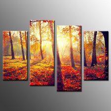 Framed Wall Art Painting Red Forest Photo Canvas Print Art For Room Decor-4pcs