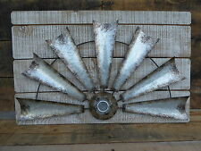 Farmhouse HALF WINDMILL on Weathered Wood Fan Ranch Western FIXER UPPER Wall Art