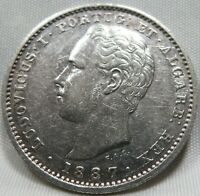 PORTUGAL silver 200 reis 1887 XF Ludovicus I. #A88