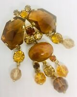 Large Signed AUSTRIA Dangle Rhinestone Brooch Unique Stones Vintage Jewelry