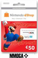 €50 Nintendo eShop Carte - 50 EUR 3DS Wii U Switch - Compte français - FR & EU
