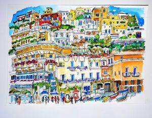 POSITANO Print. ITALY. Campania. Amalfi Coast.Province  Salerno. Italy Wall Art.
