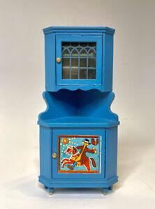 Lundby Blue Scandia Leksand Peasant Rustic Hutch Cabinet, Wooden, VINTAGE, EVUC