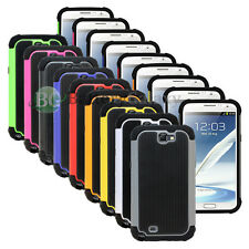 LOT Hybrid Rugged Rubber Matte Hard Case Cover Skin for Samsung Galaxy Note 2