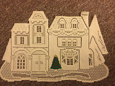 Mint Victorian House Christmas Tree Lace White Doille Embroidery 19x13� Holiday