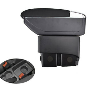 Black Leather Armrest Centre Console Storage Box For Ford Fiesta Mk7 09-17 16 14