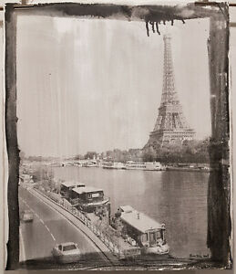 "EIFFEL TOWER,BONNIERE,22.5""X27 "",PARIS,SELF MADE SILVER GELATIN,ONE OF A KIND"